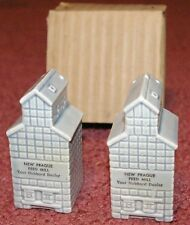 Vintage New Prague MInnesota China Feed Mill Salt & Peppers Mint in Box