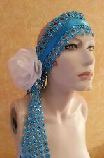 Gatsby 20'sTurquoise Illusion Jewel Mesh Rose Satin Bridal Headpiece Party Boho