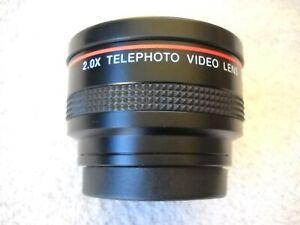 **VIVITAR 2.0 X TELEPHOTO VIDEO LENS ORIGINAL BLACK LEATHER CASE, LENS CAPS**