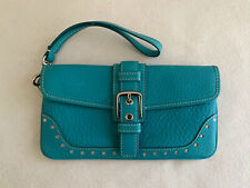 Coach Turquoise Pebbled Leather Buckled  Small Wristlet Clutch Purse