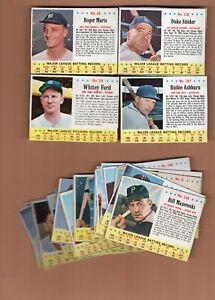 27 Different 1963 Jell-O Baseball Cards  Duke Snider, Roger Maris, Ashburn, Ford