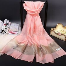 Top Quality New Women's Long Soft 100% Silk Solid Scarf Shawl Stole Scarves
