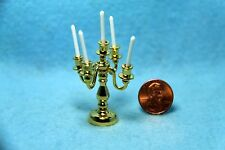 Dollhouse Miniature Brass Candelabra 5 Arm with Candles ~ BL355