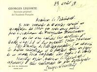 🌓 Georges LECOMTE (1867-1958) | carte autographe signée | Académie Française