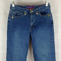 Westport womens size 4 stretch blue med wash mid rise flap tapered capri jeans