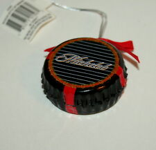 Michelob Black Bottle Cap Beer Holiday Ceramic Ornament New NOS 2008