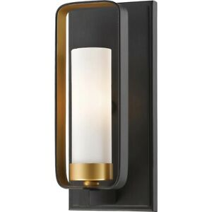 Set Of 2 Z-Lite Aideen 1 Light Wall Sconce, Bronze Gold, Matte Opal 6000-1S-BZGD