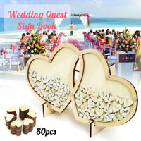 Wood Double-Heart Drop Box Wedding Guest Book Signature Sign Reception