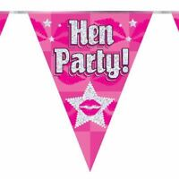 Hen Party Holographic Bunting Night Pink Foil Bridal Flag Banner 11 Flags 3.9m