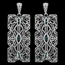Aquamarine 925 Solid Sterling Silver Victorian Style Filigree Earrings jewelry