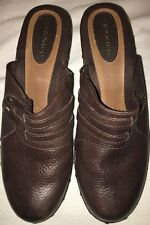 EUROSTEP Brown Pebble Textured Leather Slip On Mule Shoes Clogs Size 9M Heel