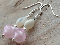 Vintage Pink & White Candy Stripe Givre Glass & MOP Sterling Silver Earrings