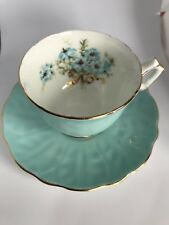 Aynsley China England Turquoise Blue FLOWERS Cup & Saucer. Gold Trim.