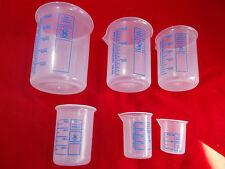 Griffinbecher Messbecher PP Kunststoff Set 250 - 10 ml 6 teiliges Set versch. Gr