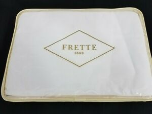 FRETTE DAMASCUS Queen Duvet Cover WHITE COTTON MADE IN ITALY NEW $1350