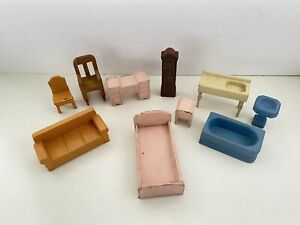 VTG Painted Wood Strombecker Dollhouse Furniture Sink Sofa Chair Bath Bed Room