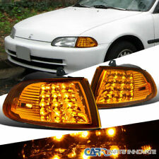 Fit Honda 92-95 Civic 2/3Dr LED Turn Signal Lights Amber Corner Lamps Left+Right