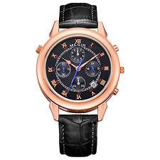 MEGIR 2013 Men Double Sided Display Chronograph Calendar Leather Quartz Watch