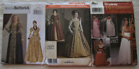 Lot of 3 Gown Sewing Patterns*Small Sizes*UNCUT/FF*medieval renaissance cosplay