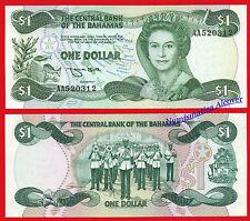 BAHAMAS 1 Dollar dolar L. 1974 (1984) Pick 43b Serial AA  SC / UNC