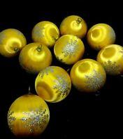 Lot 10 Vintage Gold Satin Styrofoam Ball Ornaments w/ Silver Glitter Snowflake