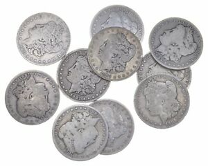 Lot 10 Morgan Silver Dollars 1878-1904- $10 Roll Face 90% Collection *0629