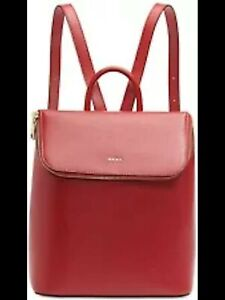 DKNY Red Leather Backpack