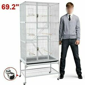 Large Professional Parrot Cage Bird Pet Perch House Cockatiel Finch Macaw Wheels
