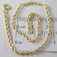 Bracelet or Jaune ou Blanc 750 18k Corde Tressé, 18,5 cm, Made In Italy