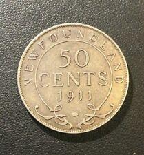 XF+ 1911 Newfoundland Canada George V Half 50 Cents Silver Coin BEAUT!