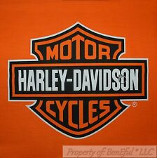 BonEful Fabric FQ Cotton Quilt Panel Block VTG Orange Black Harley Davidson Logo
