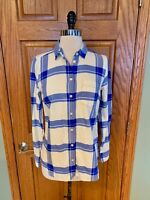 NWT J Crew Boy Fit Flannel Shirt XS Blue White Plaid Check Blouse Top