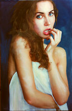 "WILLIAM OXER ORIGINAL CANVAS ""Her Beauty Within"" pretty girl woman PAINTING"