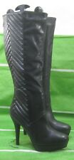 "new Black 5""High Stiletto Heel 1.5""Platform Round Toe Sexy knee Boot Size  6"