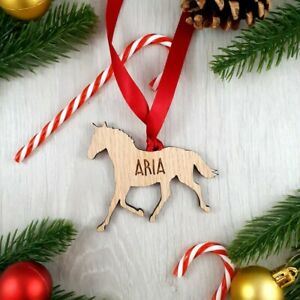 Personalised Animal Bauble - Horse Wooden Christmas Tree Decoration Gift
