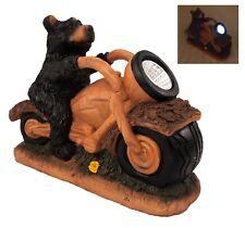 Solar Powered Bear on Motorbike Garden LED Ornament Figurine Patio Light Statue