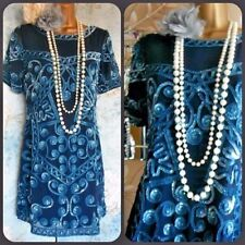 new frock and frill blue bead sequin 20s deco flapper gatsby evening dress 10