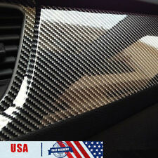 "5D High Gloss Black Carbon fiber Vinyl Automotive Car Wrap Film Interior 12x60"""