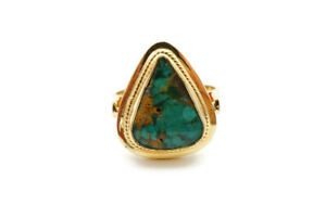 Vintage 18k Yellow Gold Turquoise Ring Size 6.5