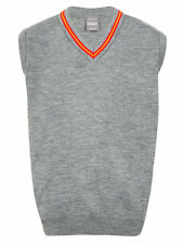 Boys Grey School Tank top , Red & Gold V neck trim 40 inch Chest