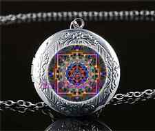 Sri Yantra Flat Photo Cabochon Glass Tibet Silver Locket Pendant Necklace