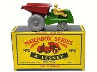 Matchbox Lesney No.2b Muir Hill Site Dumper Rarer 'C' Box (GREY PLASTIC WHEELS)