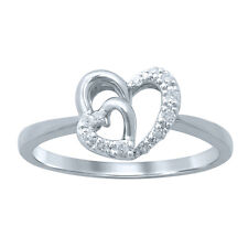 10K SOLID WHITE GOLD Heart 100% Real Natural Diamond engagement promise ring