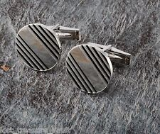 "Vintage Cufflink Pair Signed ""Sterling"" Ridged Silver Mens Jewelry"