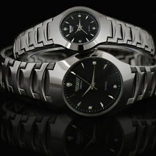Luxury Couples Couples Watches Stainless Tungsten Plated Alloy Steel  Wristwatch