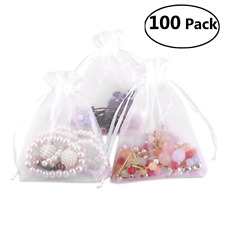 Drawstrings Gift Bags Baskets Organza Wedding Favor White Day 100 Pieces 9x12cm