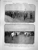 Original Old Antique Print 1908 French Siers Morocco Settat Mehalla Rutland