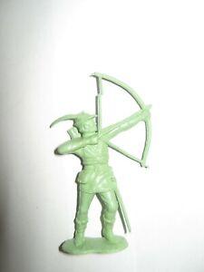 Marx robin hood original castle figures 54 mm pale green firing bow.50'