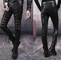 New Men's Slim fit Buckle Straight Patent Leather Pencil Pants Casual Trousers