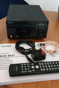 Denon RCD-M37DAB - Black Mini HiFi CD Player, MP3, DAB/FM/AM  (Remote & Cable)